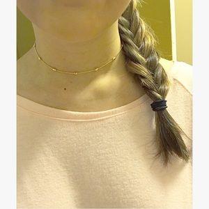 🌸 Single Strand Choker Necklace, Gold